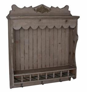 Wall Shelf Hanging Towel Rail Cottage Kitchen Cupboard Wooden Hook BAR