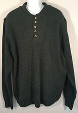 CABELAS LARGE TALL Green 1/4 Button Henley Sweater LT Cabela's Crewneck
