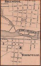 Yorkville, Illinois, Antique city map, matted, original, 1876