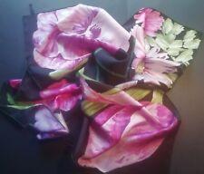 Vintage TALBOTS Floral Silk Scarf - Pink/Purple/Black Flowers - Hand Rolled Edge