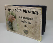 Personalised faux leather photo album, memory book, happy 60th birthday gift