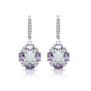 925 Silver Simulated Opal and Amethyst Oval Earrings with White Topaz Accents