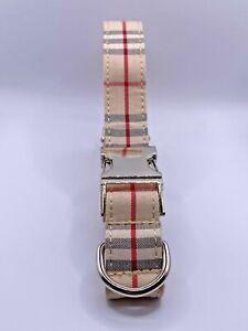 Beige Plaid Tartan Designer Dog Collar - Size Large 49-55 CM