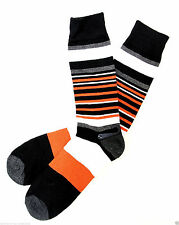 Mens & Womens Striped Socks Cotton Orange Grey Black Dress Casual Fashion New