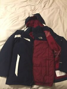 The North Face Kids Boys Boundaries Triclimate Coat In Navy & Maroon Size 14-16