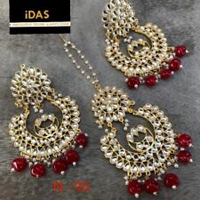 Indian Kundan Jewelry Gold Plated Earrings Tikka set Red Latest Ethnic ES