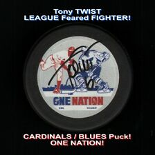 Blues Cardinals Tony Twist #6 Signed Puck League Feared Fighter Coa Hologram
