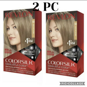 2 Box Revlon ColorSilk Hair Color Gray Coverage Permanent #60 DARK ASH BLONDE