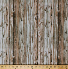 Cotton Barn Wood Wooden Boards Planks Landscape Cotton Fabric Print BTY D785.16