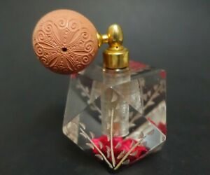 ZD-A BIRCRAFT LUCITE ROSE ATOMIZER PERFUME HOLDER MIDCENTURY PLASTIC