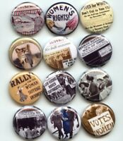 Suffrage votes for women Equal rights Pinback Buttons pins Set of 12