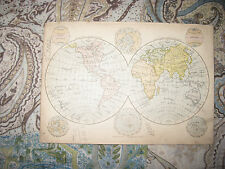 ANTIQUE 1880 WESTERN EASTERN HEMISPHERE WORLD MAP POLAR ARCTIC NORTH SOUTH POLE