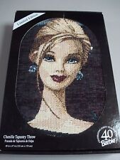 USA Made NWT Limited Edition Chenille Barbie Tapestry Throw Blanket Afghan #570