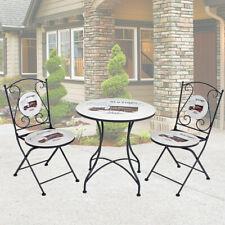 Bistro Tisch Stühle 3er Set Balkon Terrassen Sitz Gruppe Vintage Veranda Möbel