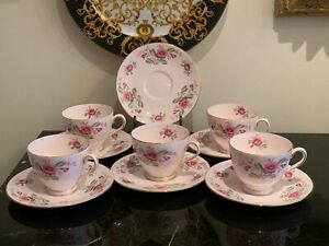 Vintage Tuscan Bone China Pink Floral Tea Cups and Saucers Set of 5 + One Saucer