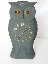 WOOD CARVED BLACK FOREST STYLE AUTOMATON OWL CLOCK