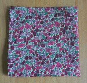 Liberty Tana lawn handkerchief hankie pocket square Petal & Bud pink green ivory