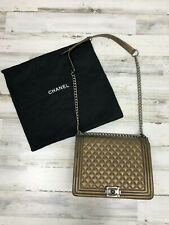 RARE Chanel Champagne Quilted Calfskin Leather Le Boy Large Bag Authentic