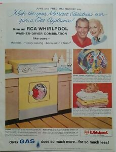 1958 yellow RCA Whirlpool washer dryer June and Fred MacMurray vintage ad