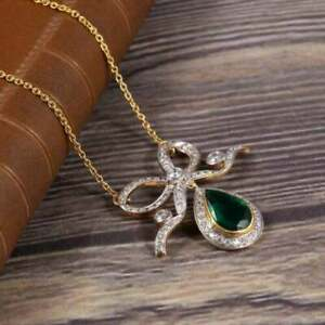 "18K YELLOW GOLD OVER ESTATE EMERALD & DIAMOND BOW PENDANT 18""NECKLACE 3.11CARAT"