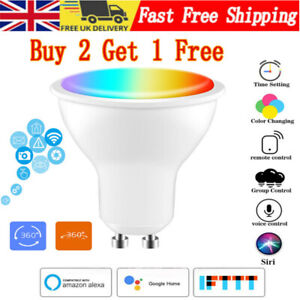 WiFi Smart Light Bulb Dimmable GU10 LED E27 Lamp For Google Home/Alexa/IFTTT UK