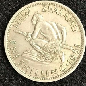 """1951 New Zealand shilling """"VF"""" or better? you judge........... #0960"""