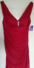 New red BETSY & ADAM by Linda Bernell greek style wedding prom maxi dress RP£129