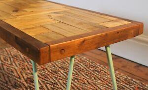 Vintage Reclaimed Industrial Solid Wood Coffee Table Pastel Green Hairpin Legs