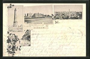 AK Borkum, Leuchtturm, Strand-Strasse, Ortspartie 1897
