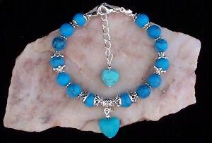 Turquoise Heart, Tibetan Silver & Turquoise Bead Bracelet. Handmade In Gift Bag
