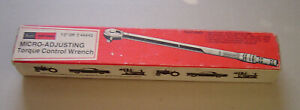 "Craftsman Micro Adjusting Torque Control Wrench 1/2"" DR 9 44443 with Box"