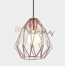 Contemporary Scandinavian Copper Geometric Metal Wire Cage pendant light Bar
