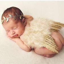 Newborn Baby Gold Angel Wings Headband Costume Photo Photography Props UK