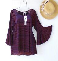 New~$88~Navy Blue & Red Berry Peasant Blouse Velvet Shirt Boho Top~Size Medium M
