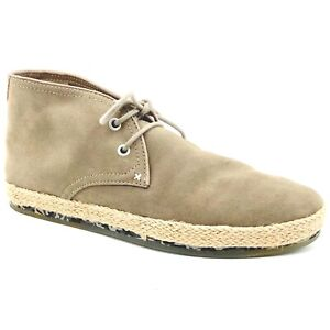 New Men's JD Fisk Mossy Green Leather Chukka Espadrille Shoes size 10M