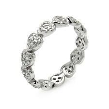 Neues AngebotSterling Silber Damen Cz Steine Stapelbar Ewigkeit Herz Ring