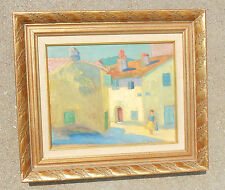 fine old oil board painting adobe village signed J S Newberry