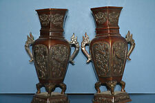 Pair Antique 19th Century Chinese Bronze Baluster Hexagonal Shape Vases, c 1890