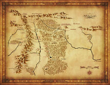 """Map of Middle Earth Lord Of The Ring Fabric Art Cloth Poster 17x13"""" Decor 39"""