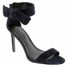NEW BANANA REPUBLIC JASMINE BLUE SUEDE STILETTO HEELS SHOES ANKLE BOWS 8.5