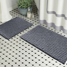 Bathroom Rug Set By Zebrux 2 Pcs extra-Soft Striped Non-Slip Shower Bath Mat set