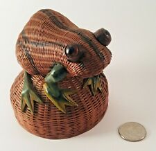 Vintage Wicker Frog Music Box Marble Eyes Plays Raindrops Falling On My Head 4""