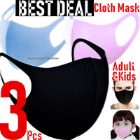 3-Pack Women Men Masks Covering Soft Cloth Fabric 3D Washable Face Mask Reusable