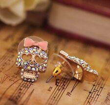 Cute Crystal Rhinestone Gold plated BOW Love Heart Skull Stud Earrings Women