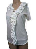 Ralph Lauren Black Label Womens Ruffle V Neck  White Top Short Sleeve Size Small