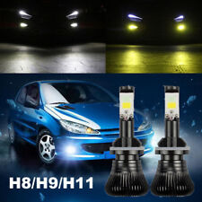 S2x H8 H9 H11 80W LED Fog Lights DRL Driving Bulbs 9600LM Dual Color 6000K 3000K