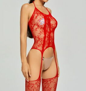 Women Sexy Fishnet Body Stockings Halter Backless Tights Underwear Red 89721
