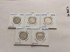5 pièces en argent de 25 cent. Canada 1945/46/56/61/67
