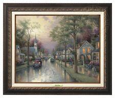 Thomas Kinkade Hometown Morning 12 x 16 Canvas Classic (Aged Bronze Frame)