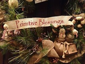 Primitive Christmas Burlap Ribbon Banner Primitive Blessings Ornament Garland BR